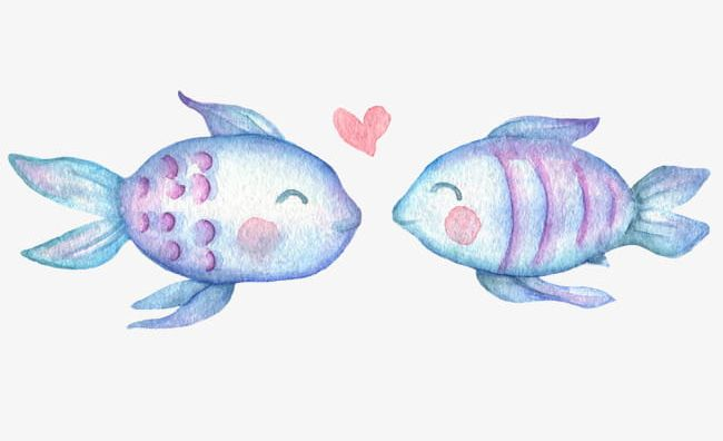 Cartoon Hand-painted Beautiful Two Kissing Fish PNG ...
