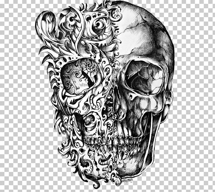 Calavera Skull Tattoo Drawing PNG, Clipart, Art, Black And White, Bone, Calavera, Cool Free PNG Download