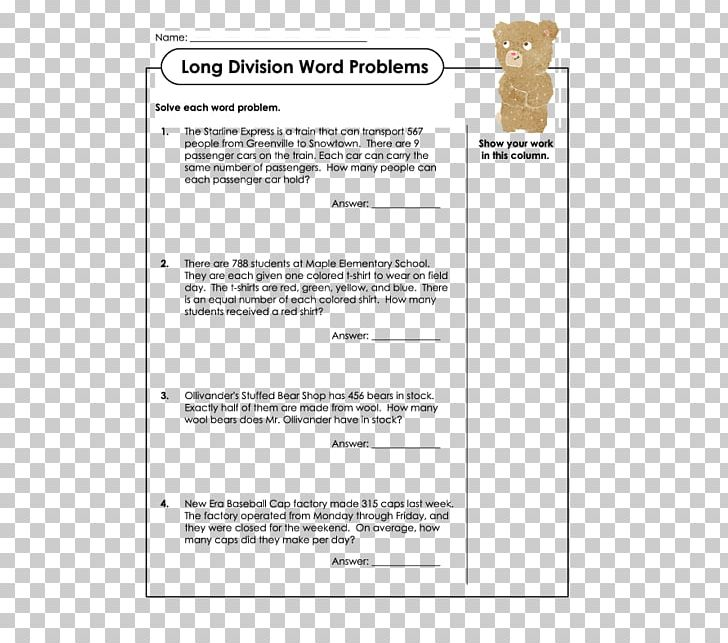 Word Problem Worksheet Long Division Mathematics PNG, Clipart ...
