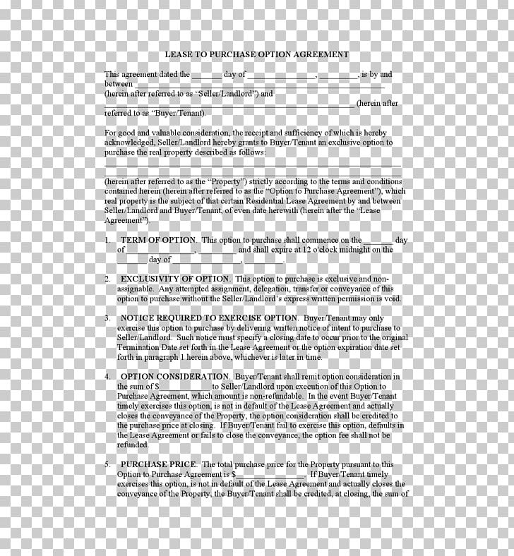 Lease Purchase Contract Lease Option Option Contract Png