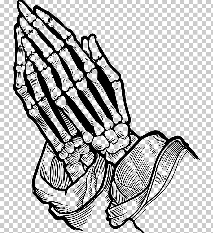 Praying Hands Prayer Bone Skull Drawing PNG, Clipart, Arm, Artwork, Black And White, Bone, Claw Free PNG Download
