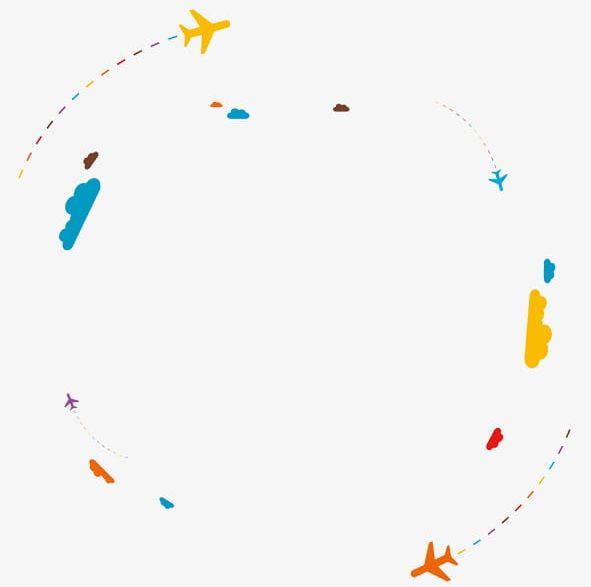Airplane colorful. The dotted line behind