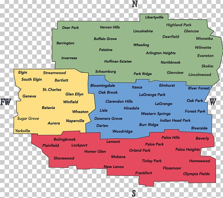 South suburbs of chicago map Tinley Park,