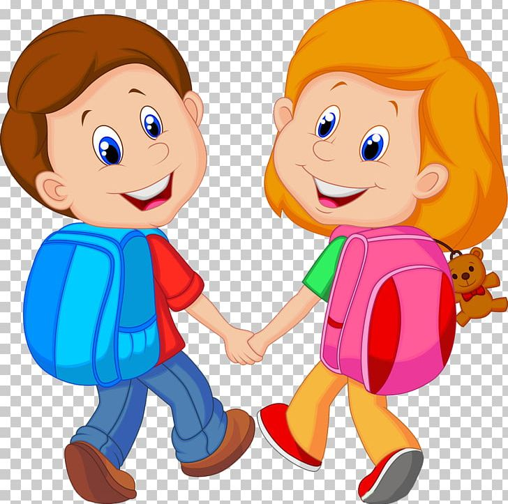 Backpack Child Cartoon PNG, Clipart, Boy, Conversation, Fictional Character, Friendship, Girl Free PNG Download