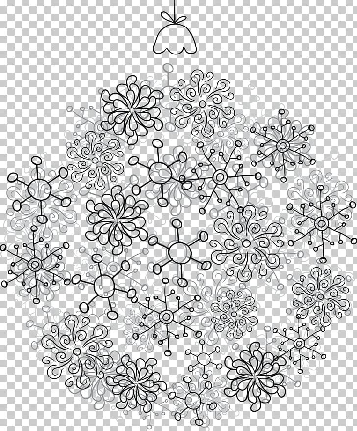 Santa Claus Christmas Ornament Ball PNG, Clipart, Ball, Black And White, Cartoon Snowflake, Doily, Encapsulated Postscript Free PNG Download