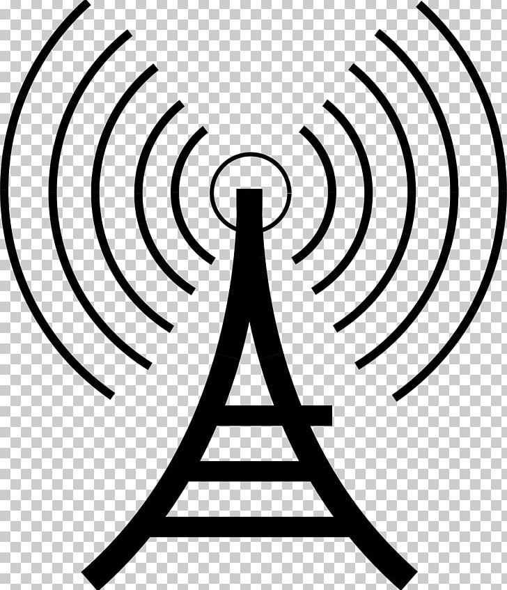 Radio Telecommunications Tower Broadcasting PNG, Clipart, Amateur Radio, Artwork, Black And White, Broadcasting, Circle Free PNG Download