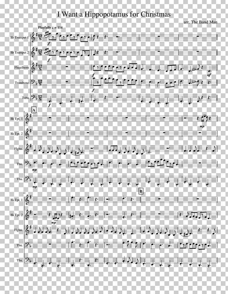 I Want A Hippopotamus For Christmas Sheet Music.Sheet Music Brass Instruments Trumpet Trombone Png Clipart