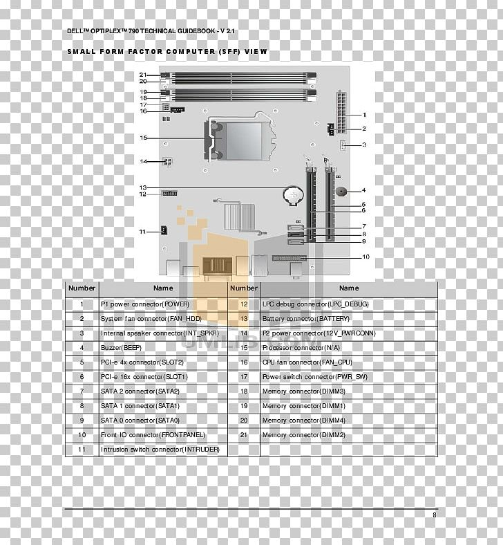 Dell Optiplex 790 Wiring Diagram Pinout Png  Clipart