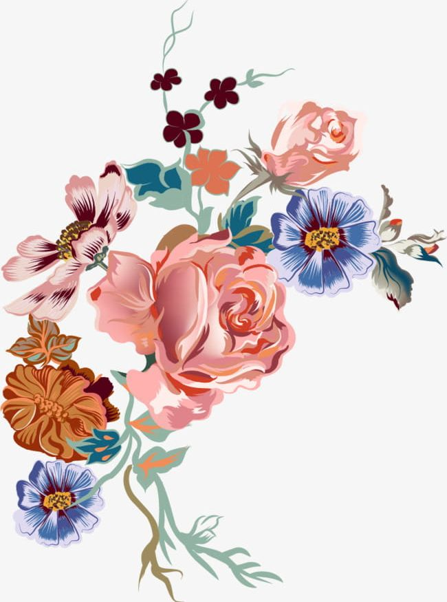 Cartoon Hand Painted Watercolor Flowers PNG, Clipart