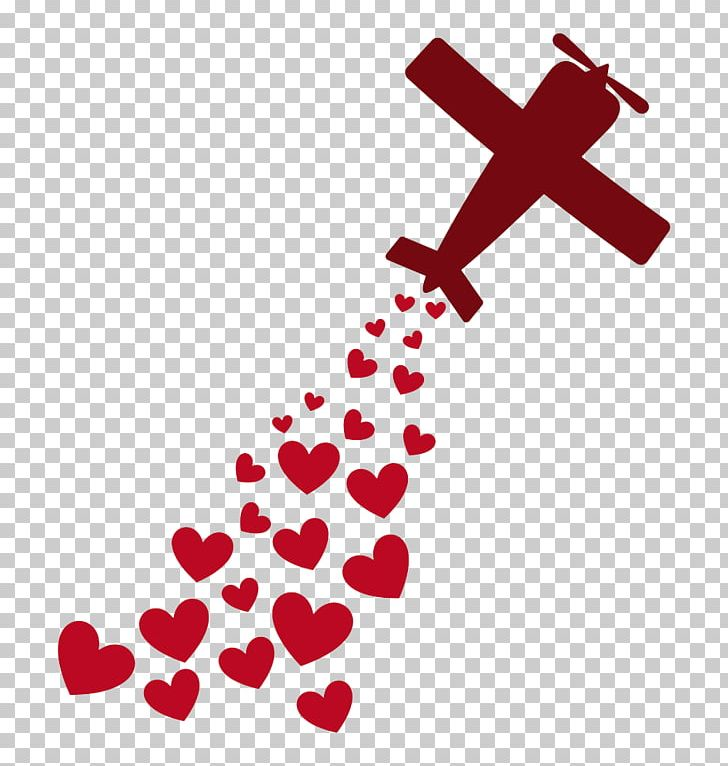 Airplane heart. Love romance png clipart