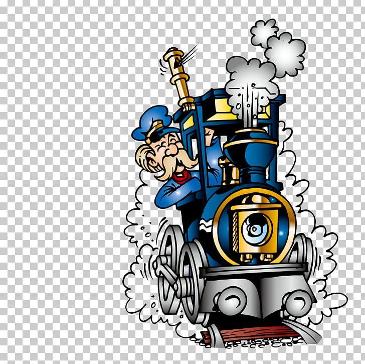 Train Railroad Engineer Steam Locomotive PNG, Clipart, Art