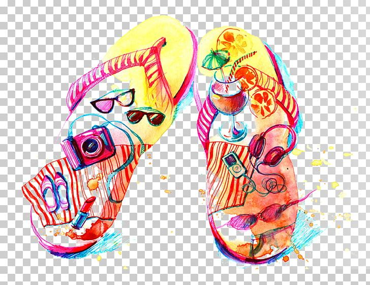 Flip-flops Watercolor Painting Drawing Illustration PNG, Clipart, Architecture, Articles, Articles For Daily Use, Daily, Designer Free PNG Download