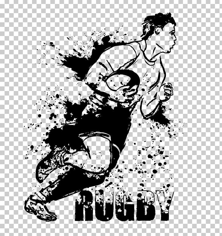 Rugby Union Sport Png Clipart Art Black And White Cartoon Fiction Fictional Character Free Png Download