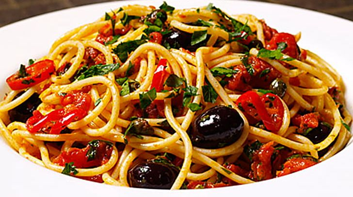 Spaghetti Alla Puttanesca Italian Cuisine Pasta Cucina Campana Sauce Png Clipart Chinese Noodles Chow Mein Cuisine