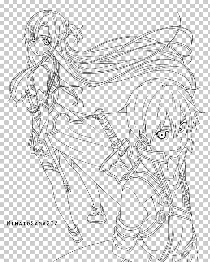 Asuna Kirito Sword Art Online Coloring Book Drawing PNG ...