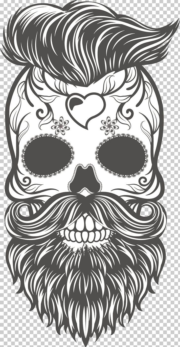 Calavera skull hipster beard sticker png clipart bumper sticker cartoon fictional character hand hand drawn free