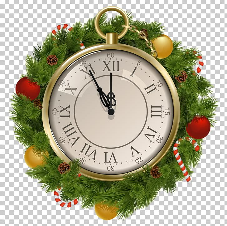 Christmas New Year Clock PNG, Clipart, Christmas, Christmas Decoration, Christmas Ornament, Clip Art, Clock Free PNG Download