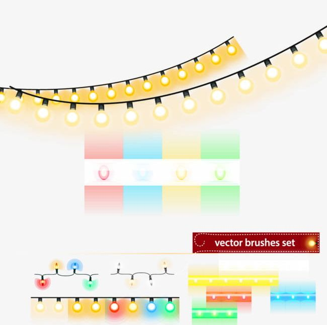 Christmas Lights Vector Free.Christmas Lights String Design Material Png Clipart