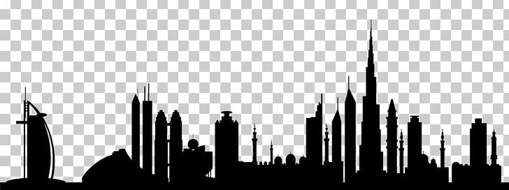 Burj Khalifa Skyline Silhouette PNG, Clipart, Black And White, Building, Burj Khalifa, City, Dubai Free PNG Download
