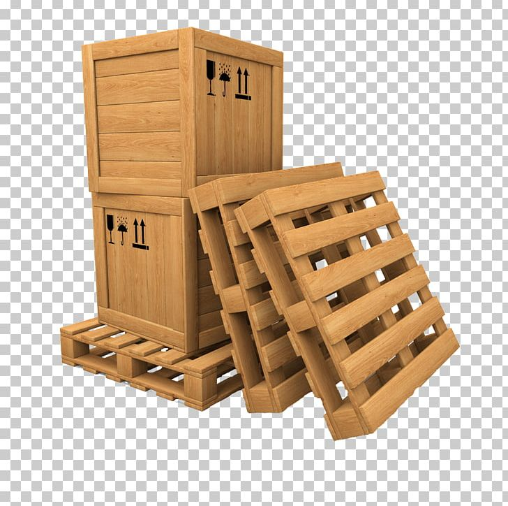 Wooden Box Pallet Cargo Less Than Truckload Shipping PNG