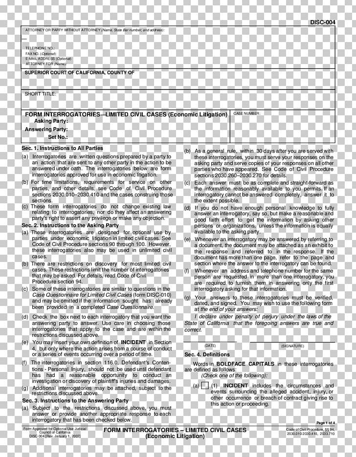 Interrogatories Discovery Document Form Law PNG, Clipart