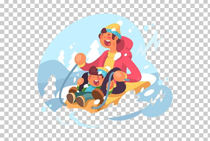 Sledding Illustration PNG, Clipart, Art, Cartoon, Computer Wallpaper, Drawing, Fictional Character Free PNG Download