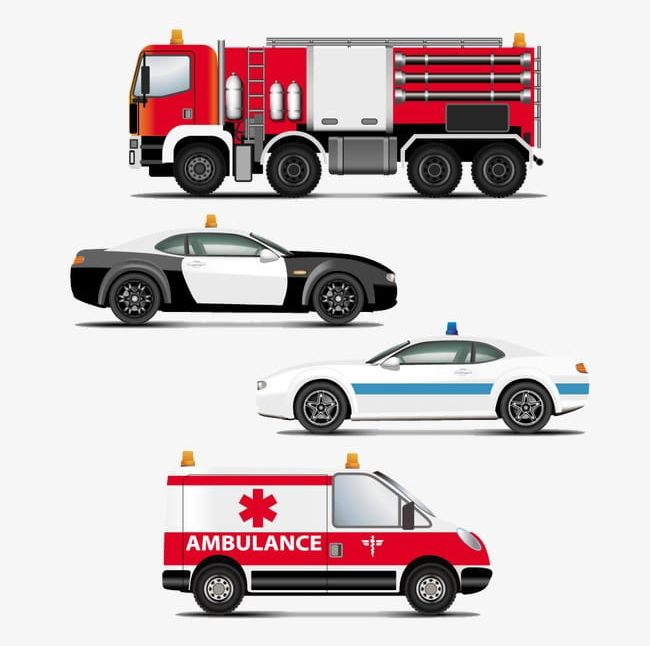 Hand Painted Cartoon Police Car Fire Engines And Emergency Vehicles Png Clipart Ambulances Car Clipart Cars