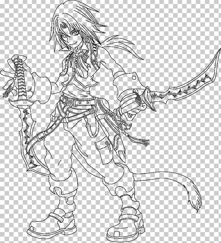 Line Art Drawing Dissidia Final Fantasy Zidane Tribal Manga