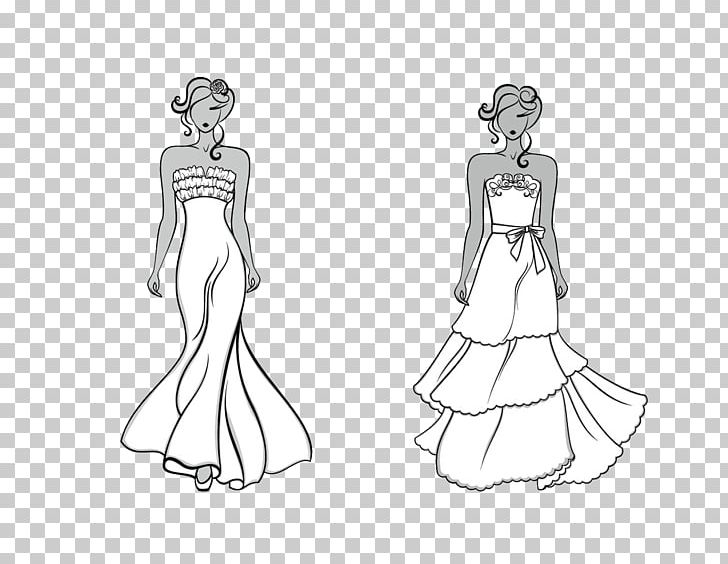 Gown Black And White Dress Sketch Png Clipart Black Clothing Fashion Design Fashion Illustration Girl Free