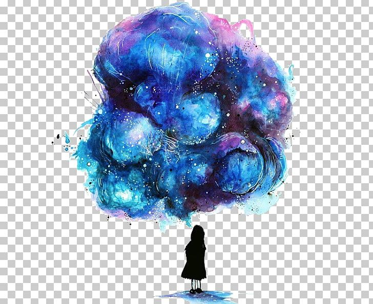 Watercolor Painting Drawing Galaxy Girl Illustration PNG, Clipart, Art, Baby Girl, Black, Blue, Color Free PNG Download