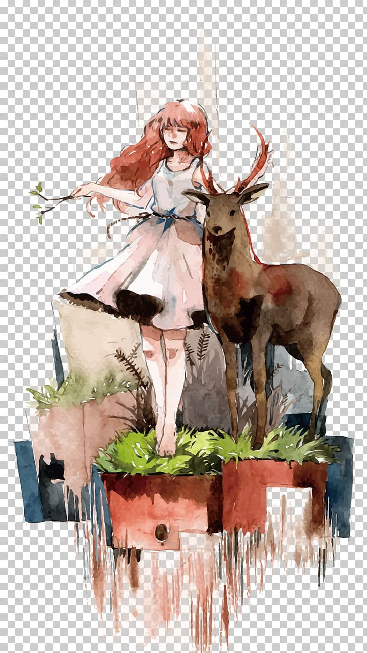 Deer Watercolor Painting Euclidean PNG, Clipart, Animals, Antler, Drawing, Encapsulated Postscript, Fashion Girl Free PNG Download