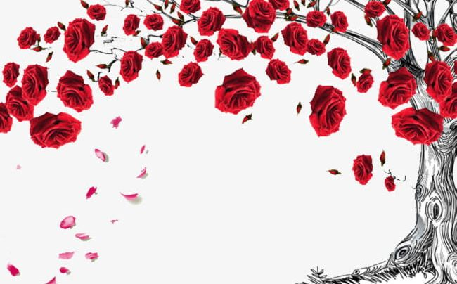 Red Rose Tree Decorated With Decorative Borders PNG, Clipart, Background, Border, Decorate, Decorated Clipart, Decorate The Border Free PNG Download