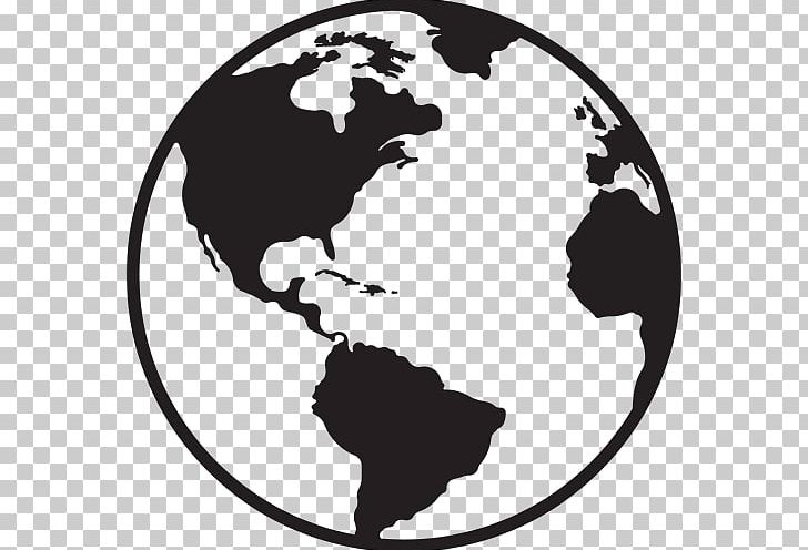 Globe World Map Png Clipart Black And W Border Circle