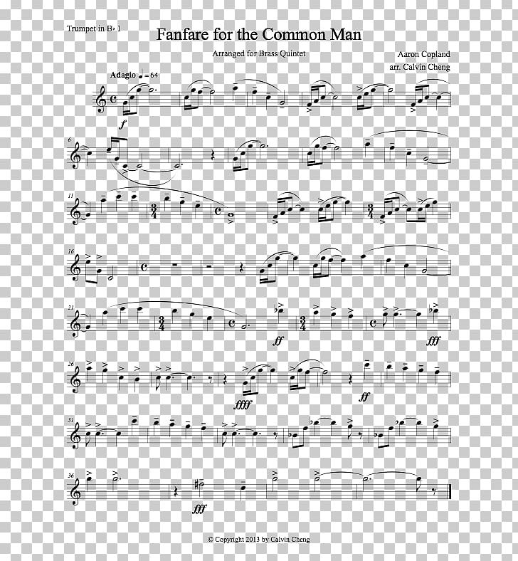 Sheet Music Fanfare For The Common Man Violin Trumpet PNG, Clipart