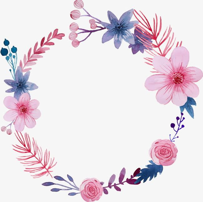 Beautiful Hand Painted Watercolor Flower Garland Greeting