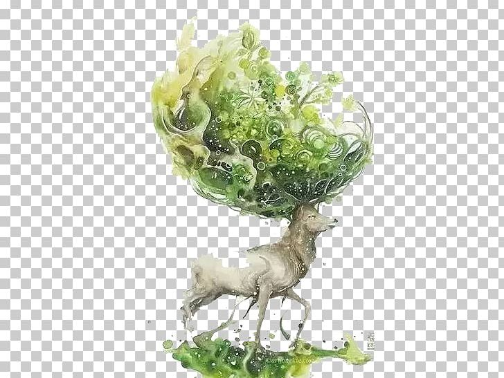 Watercolor Painting Drawing Artist Illustration PNG, Clipart, Animals, Art, Branch, Cartoon, Christmas Deer Free PNG Download