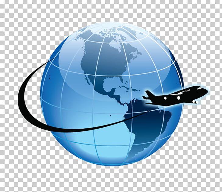 Airplane globe. Flight atkamba airport aircraft