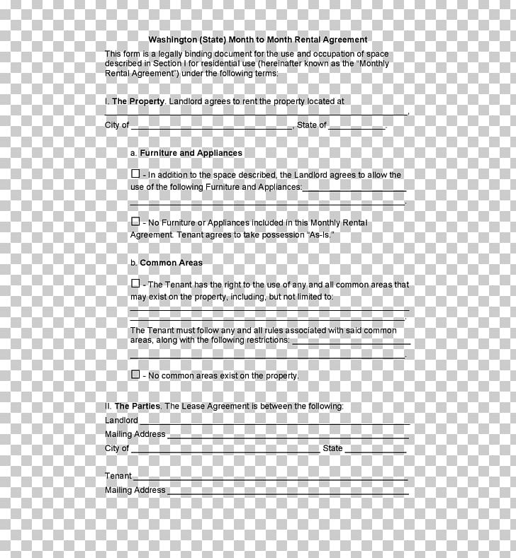 Rental Agreement Lease Contract Renting Form Png Clipart