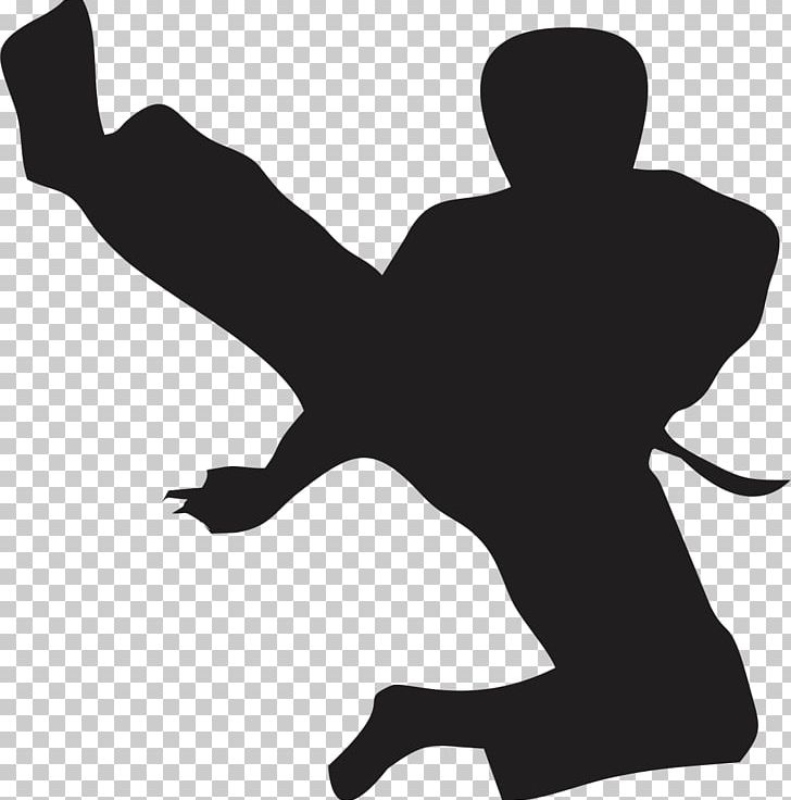Flying Kick Taekwondo Karate Martial Arts PNG, Clipart, Arm, Black, Black And White, Black Belt, Boxing Free PNG Download