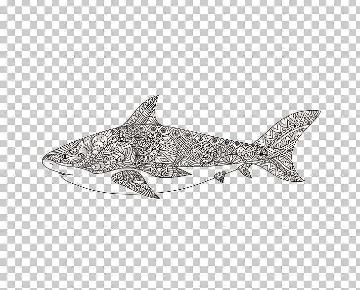 Shark Coloring Book Mandala Illustration Png Clipart Adult