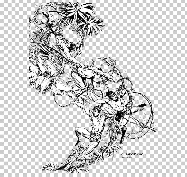 Drawing Tarzan Black And White Comics Sketch PNG, Clipart, Art, Artwork, Black And White, Branch, Comics Free PNG Download