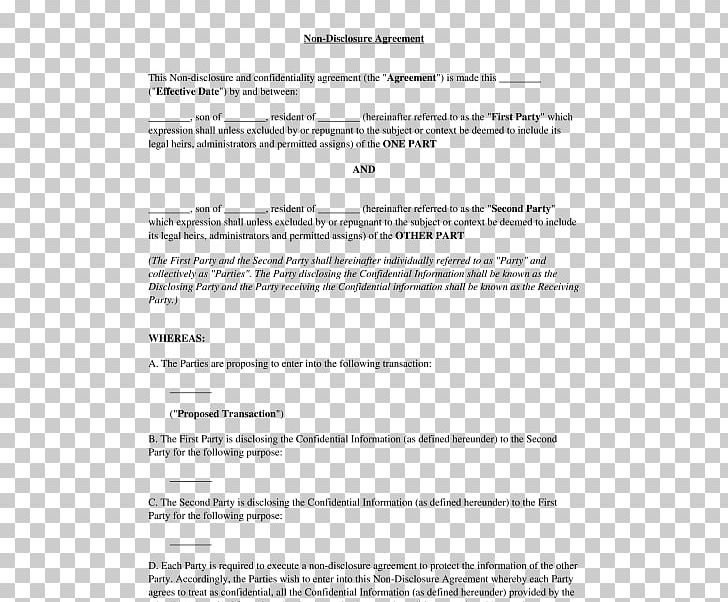 Document Non Disclosure Agreement Template Confidentiality