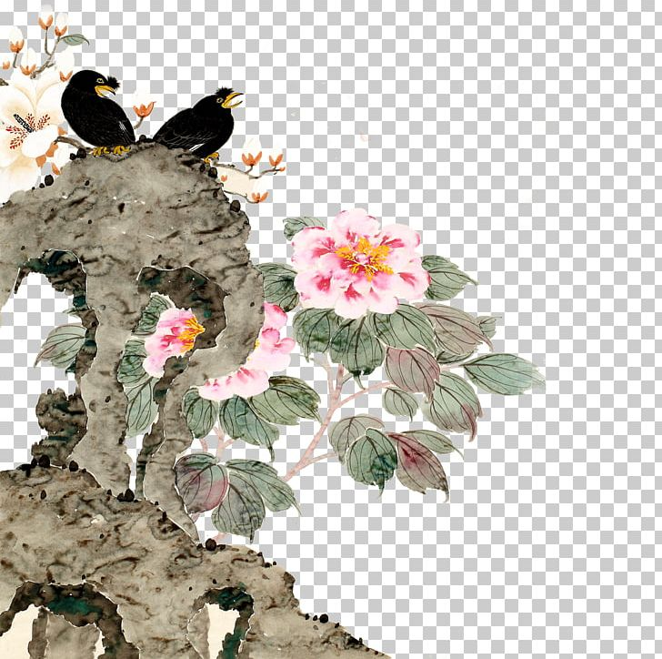 Bird And Flower Painting Wall Png Clipart Animals Art