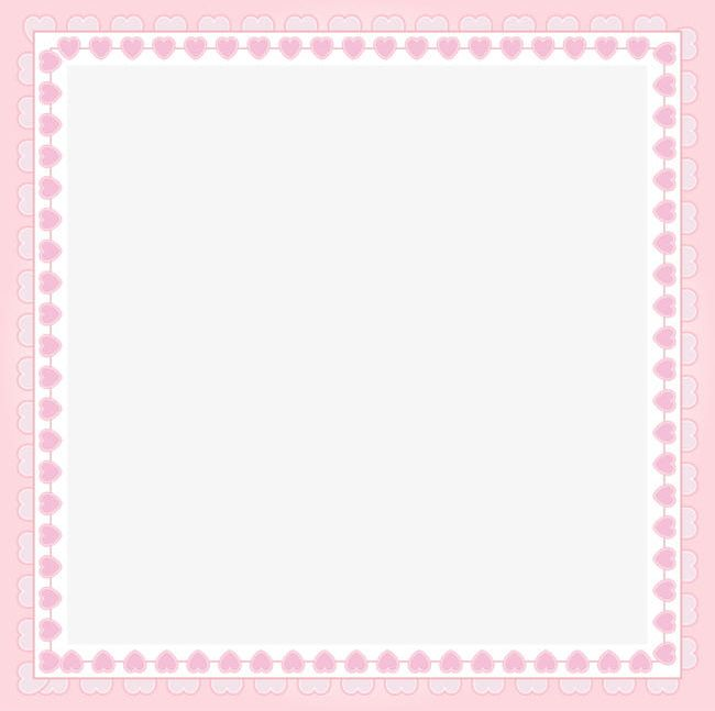 Pink Heart-shaped Decorative Square Frame PNG, Clipart ...