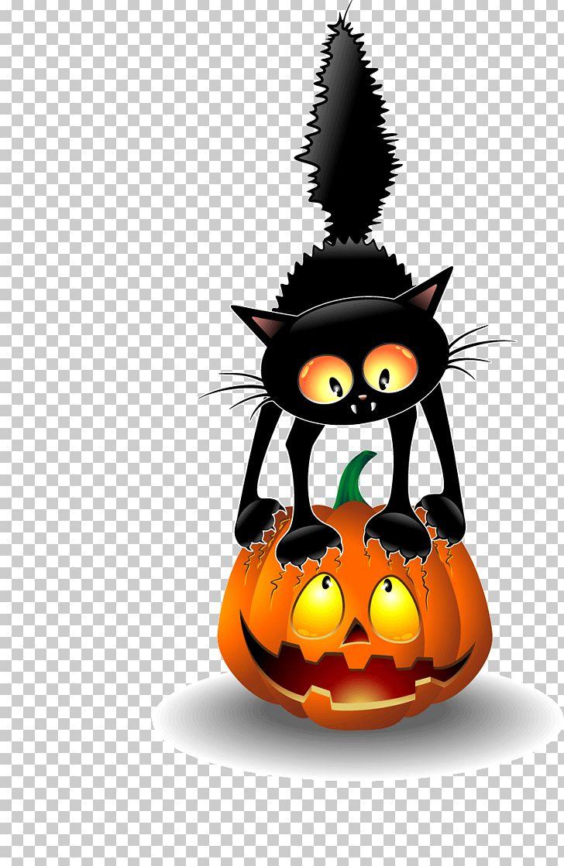 Black Cat Halloween PNG Clipart Calabaza Cartoon