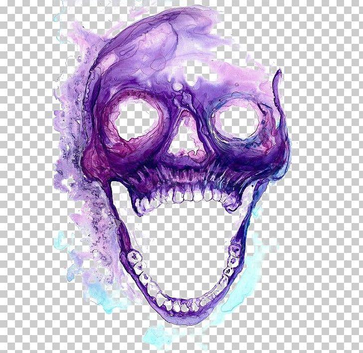 Skull Purple Skeleton Art PNG, Clipart, Bone, Christmas Decoration, Cigarette, Color, Creative Shape Smoke Free PNG Download