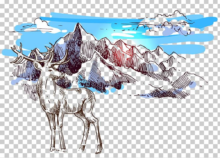 Drawing Illustration PNG, Clipart, Animal, Blue, Cartoon, Christmas Deer, Computer Wallpaper Free PNG Download