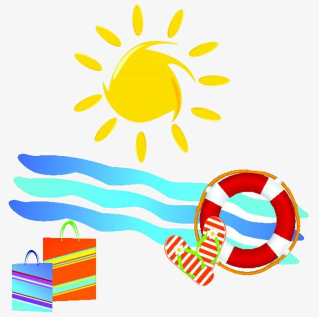 Sun beach. Png clipart hand painted