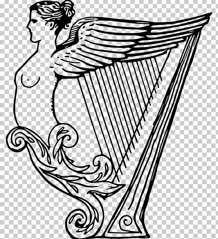 Celtic Harp Drawing Musical Instruments PNG, Clipart, Art, Artwork, Black And White, Cartoon, Celtic Harp Free PNG Download