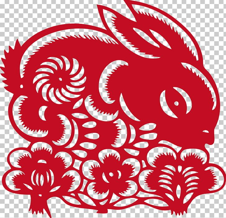 Papercutting Chinese Paper Cutting Rabbit Png Clipart